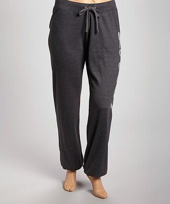 Charcoal Sequin 'Love' Fleece Pants - Plus