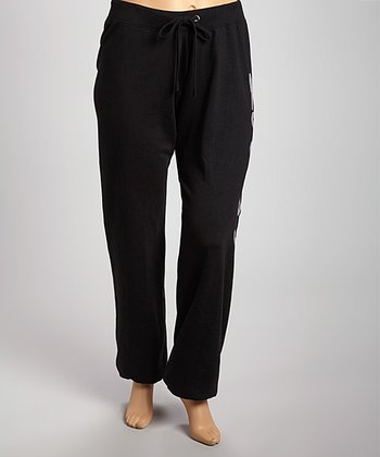 Black Sequin 'Love' Fleece Pants - Plus
