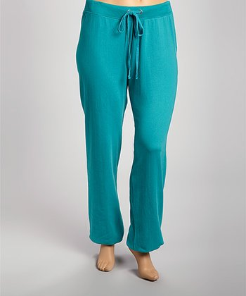 Teal Green 'Love' Fleece Pants - Plus