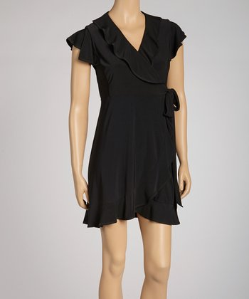 Black Ruffle Wrap Dress - Petite