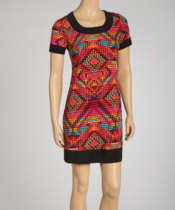 Red Geometric Dress - Petite