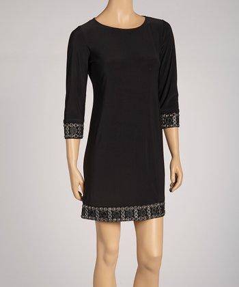 Black Beaded Dress - Petite