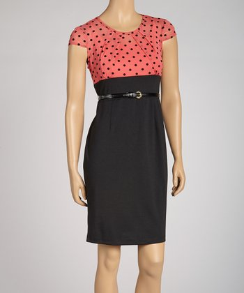 Coral Polka Dot Dress - Petite