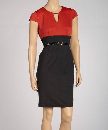 Black & Rust Belted Dress - Petite