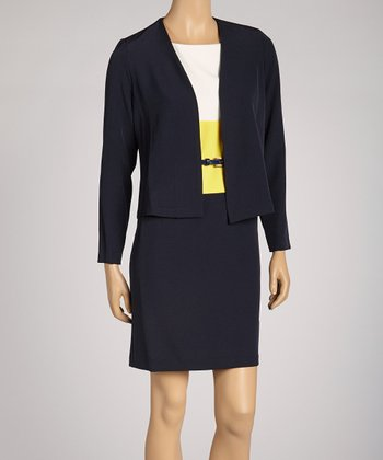 Black Color Block Dress & Blazer - Petite