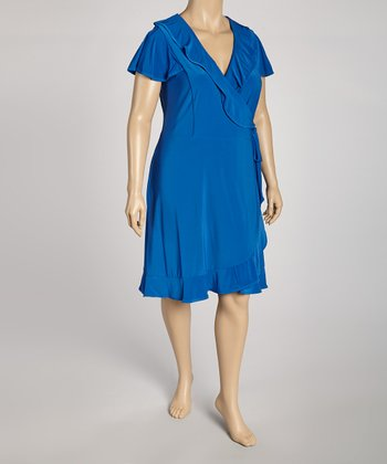 Blue Ruffle Wrap Dress - Plus
