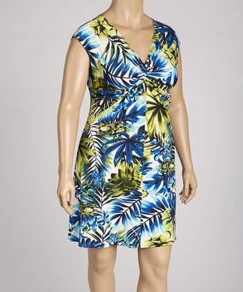 Blue Palm Knot Front Dress - Plus