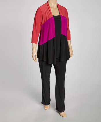 Fuchsia & Black Layered Open Cardigan & Pants - Plus