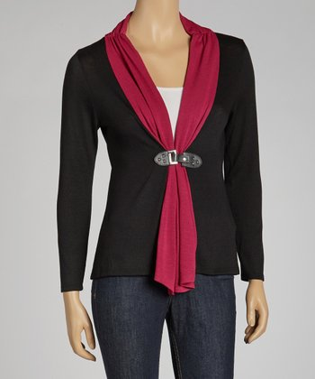 Black & Fuchsia Color Block Cardigan - Petite