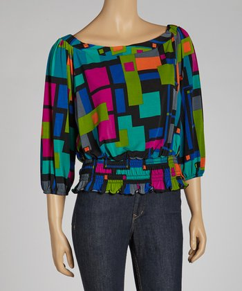 Teal Geometric Boatneck Top - Petite
