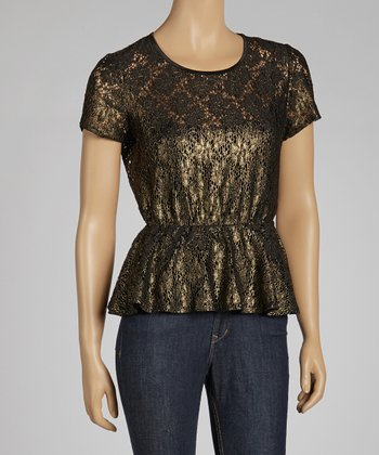 Black & Gold Lace Peplum Top - Petite