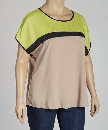 Lime Color Block Dolman Top - Plus