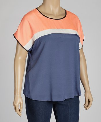 Navy Color Block Dolman Top - Plus