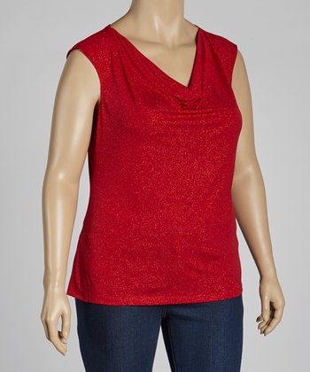 Red Glitter Cowl Neck Sleeveless Top - Plus
