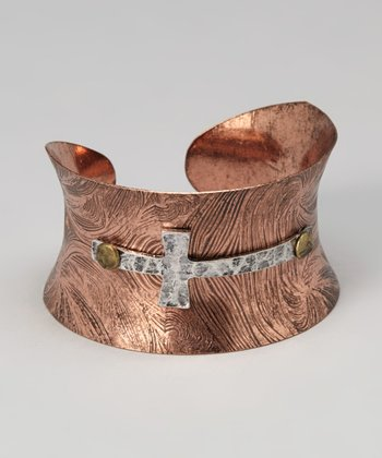 Bronze & Silver Cross Cuff