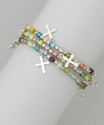 Green & Silver Bead Cross Stretch Bracelet Set