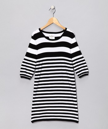 Black & White Stripe Sweater Dress - Girls