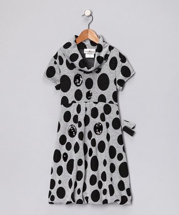 Black & Gray Polka Dot Dress - Girls