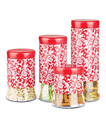 Poppy Angelique Glass Canister Set