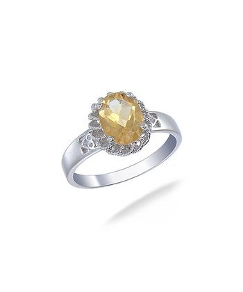 Citrine & Sterling Silver Burst Ring