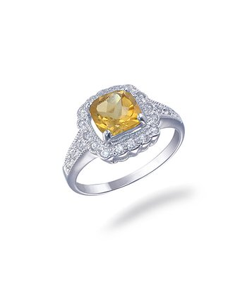 Citrine & Sterling Silver Cushion Cut Ring