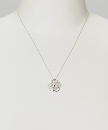 Diamond & Silver Flower Pendant Necklace