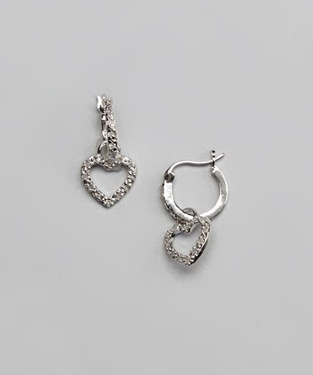 Diamond & Silver Heart Drop Earrings