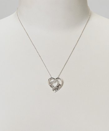 Diamond & Silver Heart Pendant Necklace