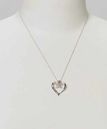 Diamond & Gold Open Heart Pendant Necklace