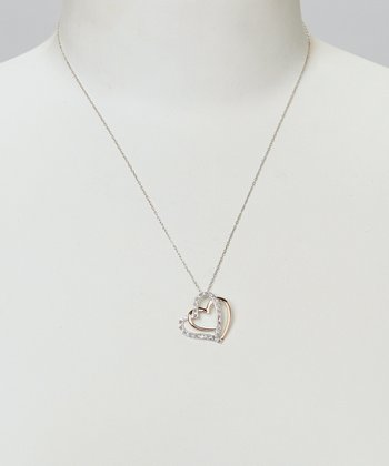 Diamond & Silver Double Heart Pendant Necklace
