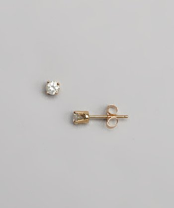 Diamond & Gold Solitaire Stud Earrings