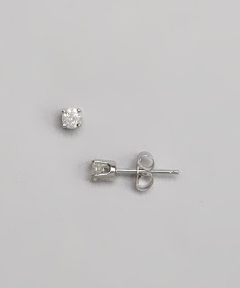 Diamond & White Gold Solitaire Stud Earrings
