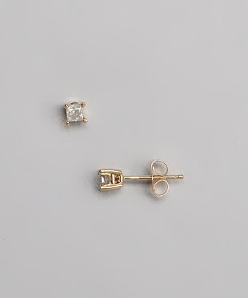 Diamond & Gold Princess Stud Earrings
