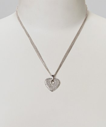 Diamond & Silver Heart Chain Pendant Necklace