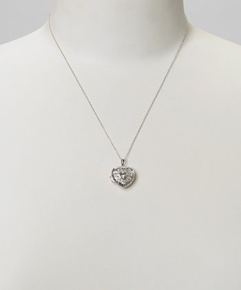 Diamond & Silver Heart Lattice Locket