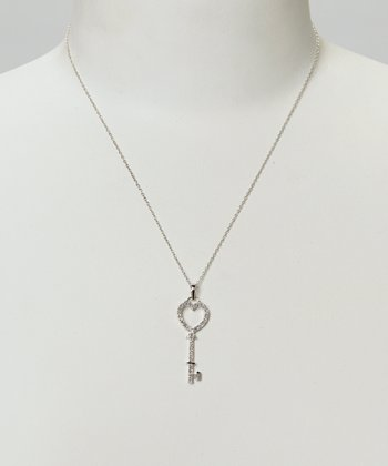 Diamond & Silver Key Pendant Necklace