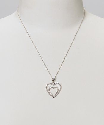 Diamond & Silver Double Open Heart Pendant Necklace