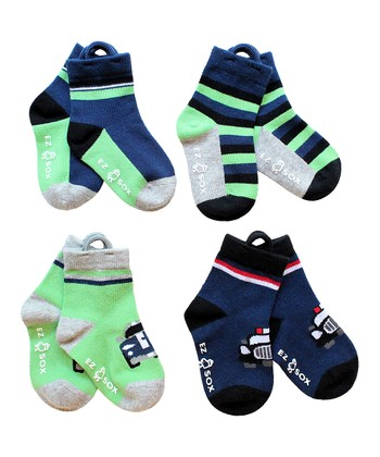 Green Car Socks Set - Boys
