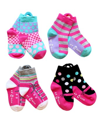 Pink & Black Mary Jane & Sneaker Socks Set - Kids