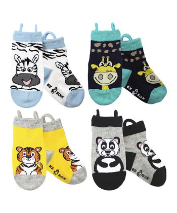 Blue & Yellow Zoo Socks Set - Kids