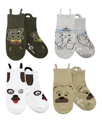 Brown & Gray Wild Friends Socks Set - Boys