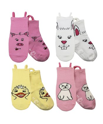 Pink & Yellow Gentle Friends Socks Set - Kids