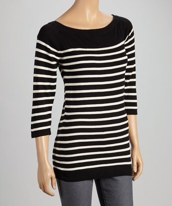 Black & White Stripe Three-Quarter Sleeve Sweater