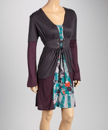 Deep Gray Layered Long-Sleeve Dress