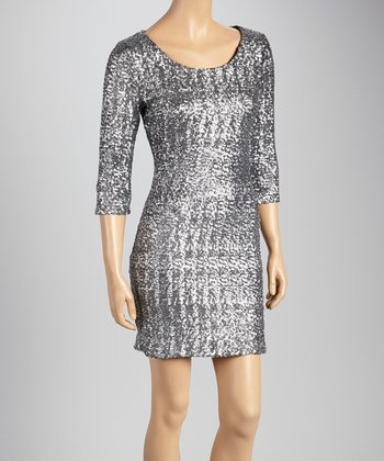 Silver Three-Quarter Sleeve Dress