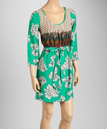 Bright Ivy & Yellow Floral Three-Quarter Sleeve Dress