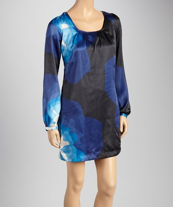 Blue Night Watercolor Long-Sleeve Dress