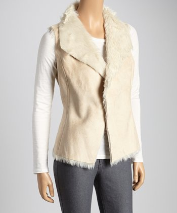 Fresh Ecru Faux Fur Vest