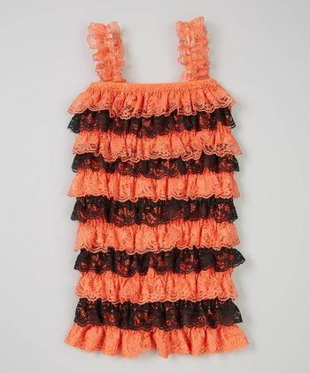 Orange & Black Ruffle Romper - Infant & Toddler