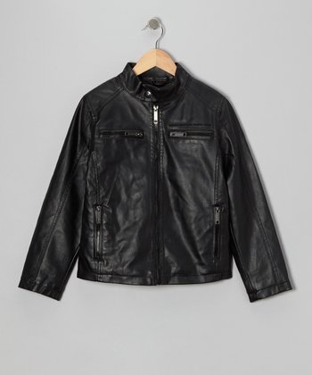 Black Faux Leather Moto Jacket - Toddler